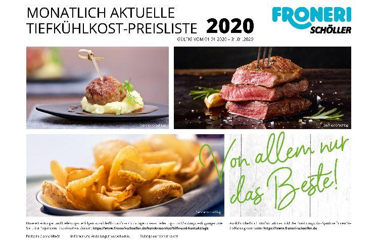 MONATLICH AKTUELLE TIEFKÜHLKOST-PREISLISTE Januar 2020