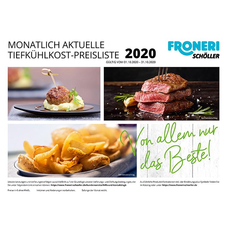 MONATLICH AKTUELLE TIEFKÜHLKOST-PREISLISTE Oktober 2020