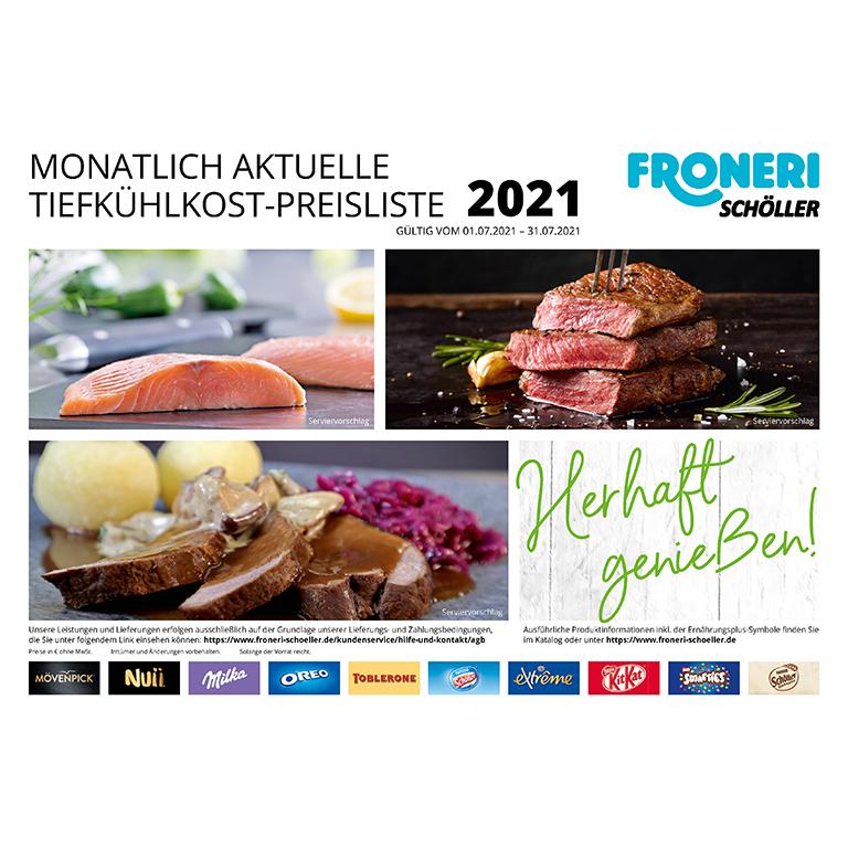MONATLICH AKTUELLE TIEFKÜHLKOST-PREISLISTE JULI 2021