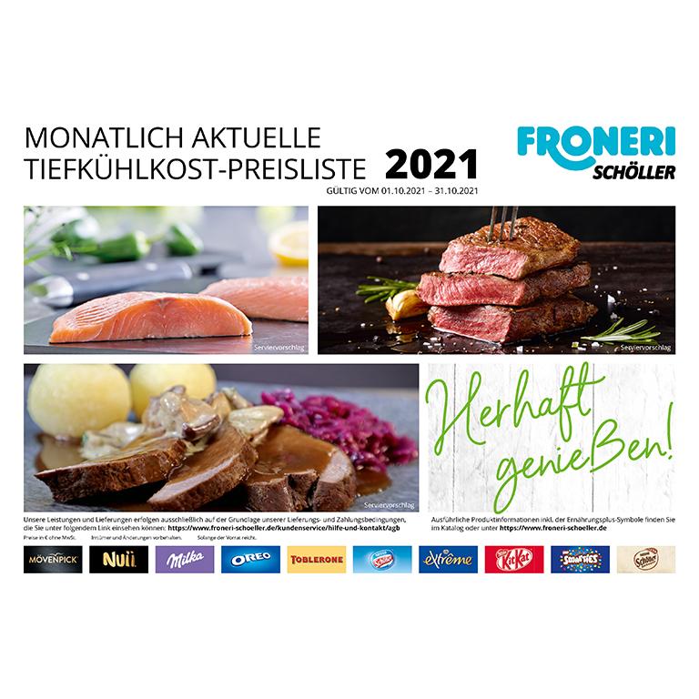 MONATLICH AKTUELLE TIEFKÜHLKOST-PREISLISTE OKTOBER 2021